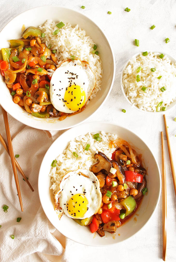 Chickpea and Mushroom Stir Fry with Fried Eggs
