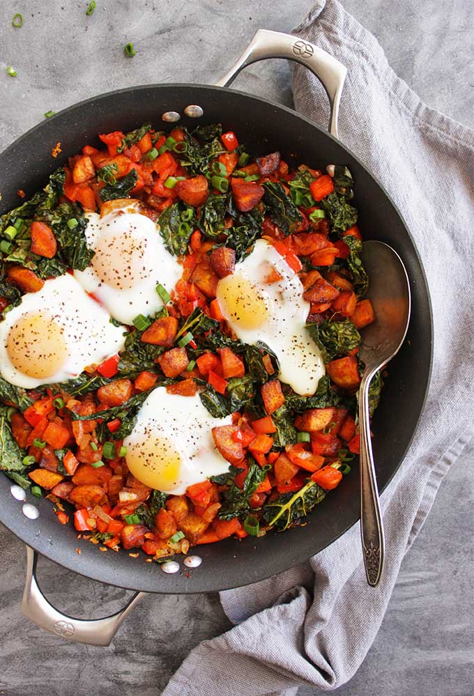 30 Minute Plantain Breakfast Hash with Runny Eggs