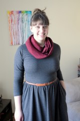 Colette Moneta with an infinity scarf and belt