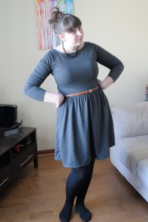 Colette Moneta with tights, and a belt