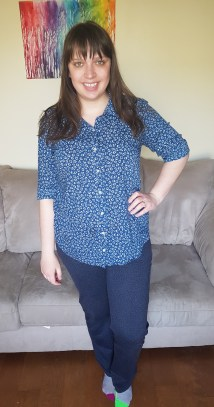Top: Hey June Cheyenne Top in floral rayon. Bottoms: 5 out of 4 Zen Pants in a heavy jegging knit