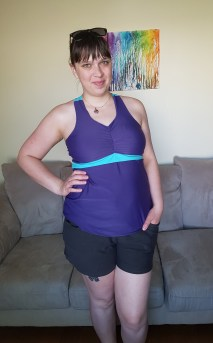 Top: 5 out of 4 Journey Top. Bottoms: Grainline Maritime Shorts made with a heavy knit
