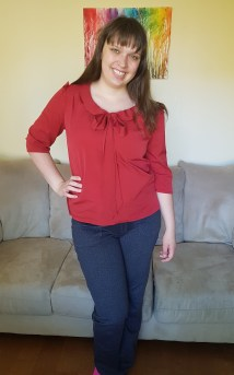 Top: Tilly & the Buttons Bow Blouse in poly crepe. Bottoms: 5 out of 4 Zen Pants in heavy jegging knit