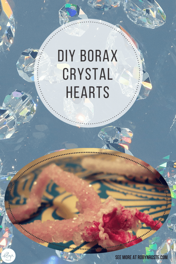 I'm making DIY Borax crystals in the shape of hearts! For Valentine's Day I thought it would be fun to highlight a fun and easy project for anyone from 3 to 300 years old. However. It actually takes 24 hours to properly procure so...it's not quite done yet.