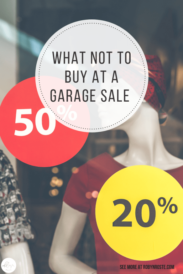 Here's my list of top five things to not buy at garage sales, based on my own experience. I mean, I have a list from the Internet as well.