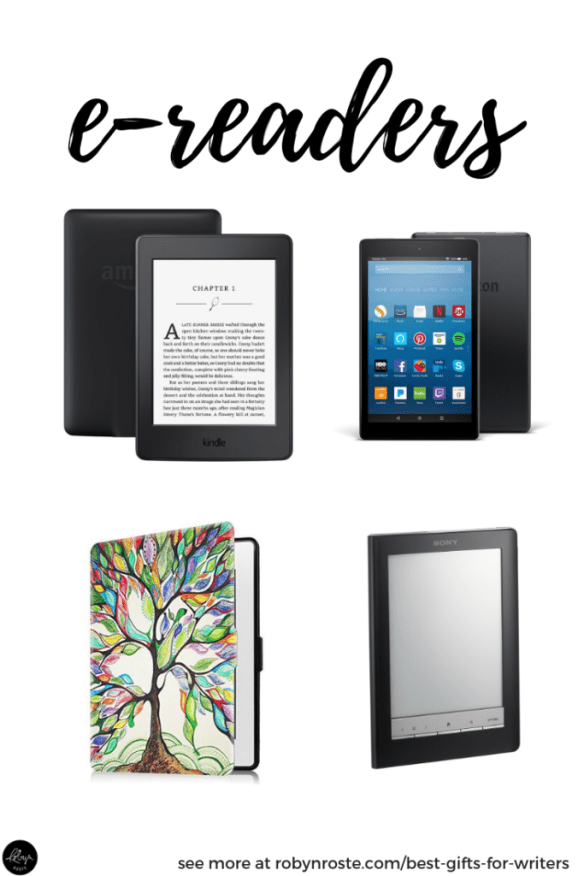 Gifts for writers. Writers love real life books but they're also realists. Where do they put all those books they read? Which is why you should get the writer on your list an e-reader. Here are a few options!