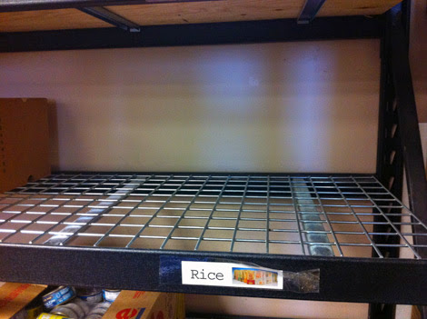 Food bank shelf, out of rice
