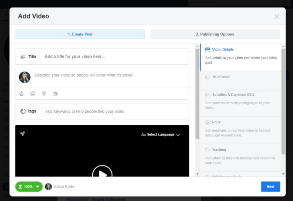 Add photos/videos dialogue box in Facebook