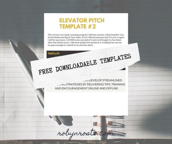 elevator pitch templates