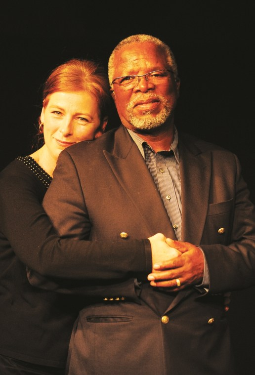 Susan Danford and John Kani, as Anna Ohlsson and her husband Robert Khalipa. Photograph by Andrew Brown.