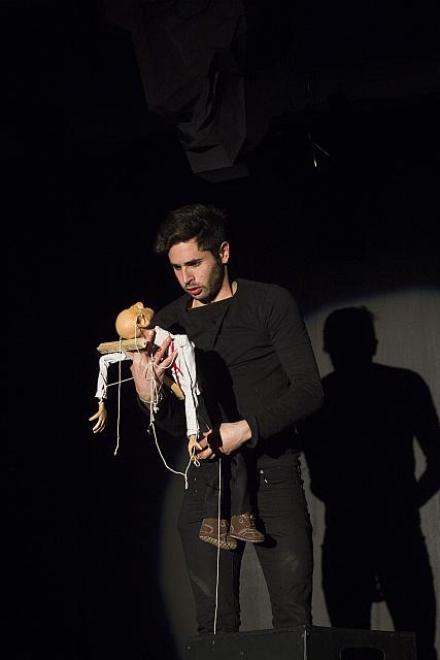 Glen Biderman Pam and his hapless puppet. Photograph supplied.