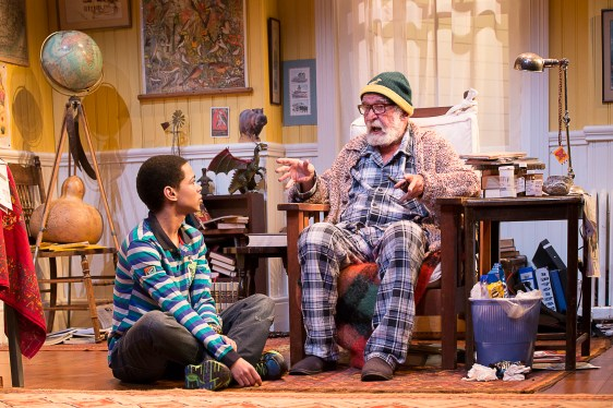 Back on stage after an absence of 15 years, Athol Fugard as Oupa, opposite Marviantoz Baker as Boba. Photograph courtesy Market Theatre