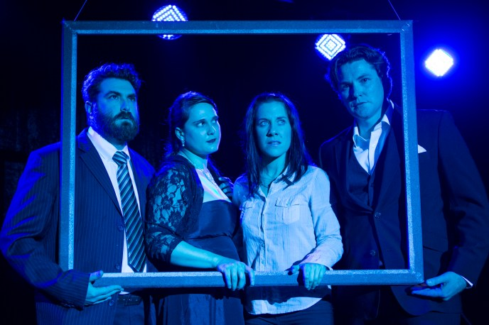 Daniel Janks, Jessica Friedan, Ashleigh Harvey and James Alexander in Bash. Photograph courtesy Auto & General Theatre on the Square.