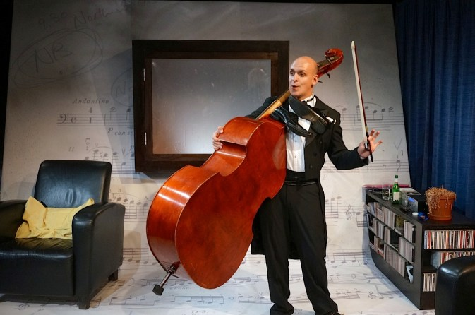 Me and my fiddle: The Double Bass and its performer, Pieter Bosch Botha. Photograph courtesy Auto and General Theatre on the Square.