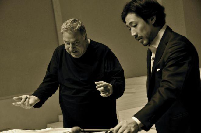 Peter Klatzow with Japanese Marimbist Kunihiko Komori at a festival in 2011. Photograph courtesy blog.livedoor.jp