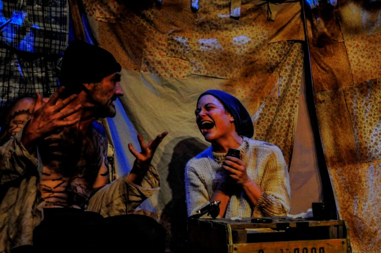 Like father, like daughter: Leon (Andrew Buckland) and Ginny (Liezl de Kock) share a guffaw. Photograph by Bazil Raubach