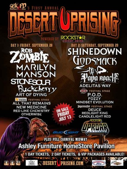 Full line up for Desert Uprising