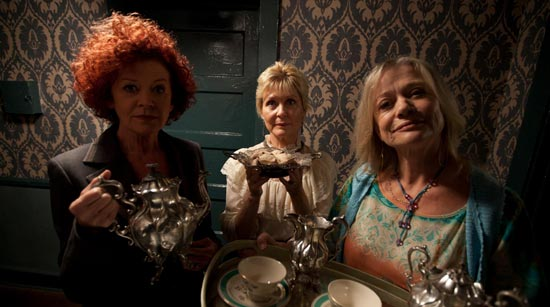 Patricia Quinn, Dee Wallace and Judy Geeson on set on Rob Zombie's The Lords of Salem