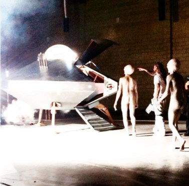 Behind the scenes on #fuckinginaufo Video. Giving my alien friends a tour of their new ship.