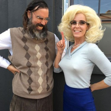 """I see your point. @sherimoonzombieofficial and Jeff Daniel Phillips get ready for the """"Well, Everybody's Fucking In A UFO"""" video shoot."""
