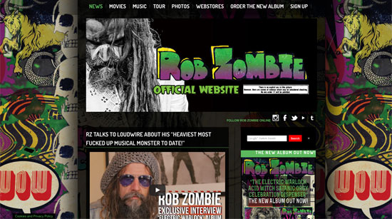 Rob Zombie website 2016