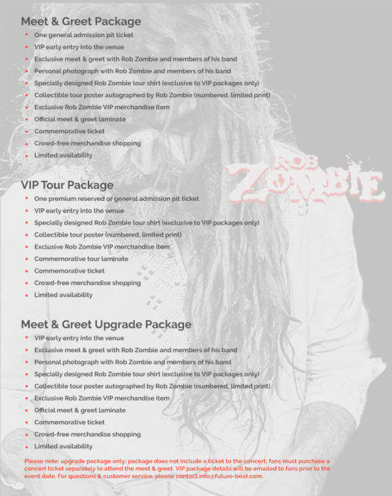 Rob Zombie VIP tour packages Return of the Dreads