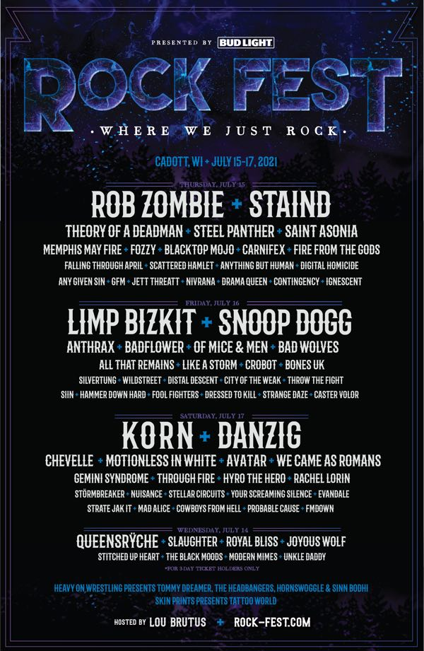 Rock Fest 2021 Line Up poster Rob Zombie