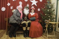 63249 BurlReal Flamborough, December 13, 2015 Tanya Rocca of Rocca Sisters smiles with Santa and Mrs. Claus at their Christmas event held at Westfield Heritage Village. Photo by Ashley Ciona, special to Metroland Media
