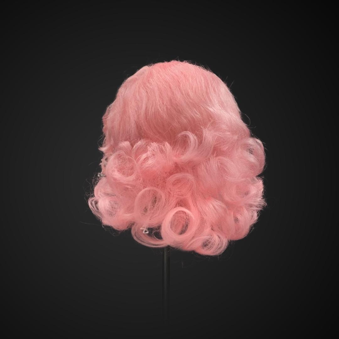 Parrucca rosa con boccoli