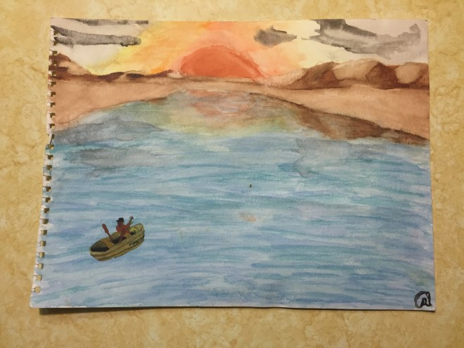 """An early watercolor from when I was 13 years old. On the back, the title is listed as """"Credence Clearwater Revival"""", and the boat is inscribed with the the title """"Manhunter"""". So many mysteries."""