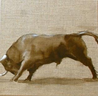 Taureau12, huile sur toile 30x30cm