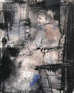 La dame en rose, sur chine collé