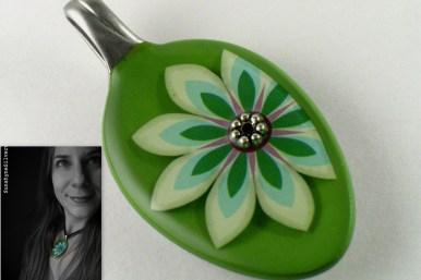 Sunshyne Silverwear Green Flower Pendant