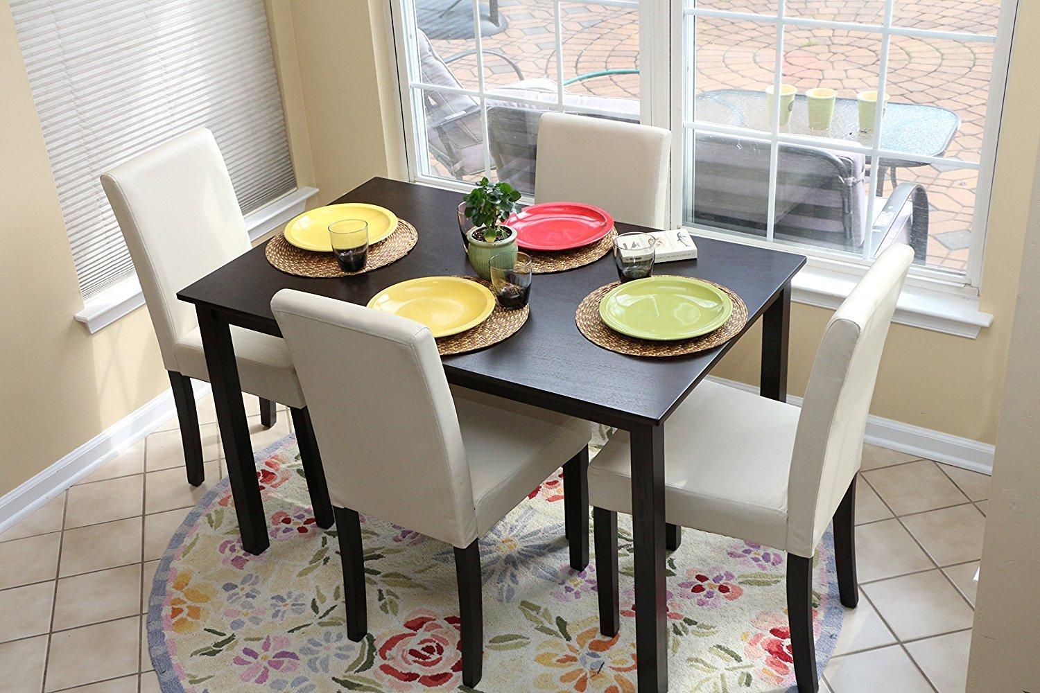 5 PC Ivory Leather 4 Person Table And Chairs Ivory Dining