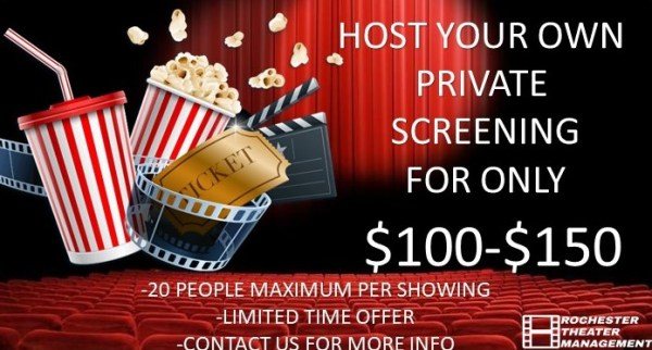 3/20/2021 4:00pm Saturday Geneseo Theaters Private Show
