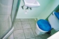 Basement bathroom after waterproofing repairs