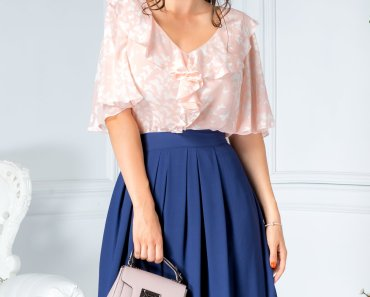 Fusta midi office bleumarin