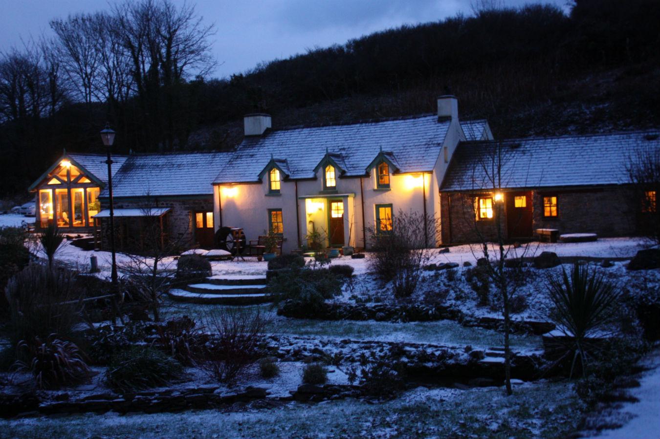 Roch Mill in snow near Newgale, Pembrokeshire