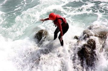 Coasteering in Ramsey Sound near St Davids, Pembrokeshire Coast National Park, South West Wales