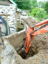 Deep trench to wheel pit providing for eco friendly heating at Roch Mill and Granary self catering holiday cottage, near Solva, St Davids and Newgale, Pembrokeshire Coast National Park, South West Walesl