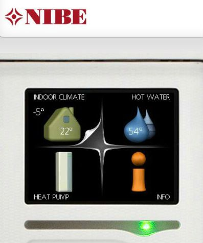 Nibe heat pump controls providing eco friendly green energy at Roch Mill and Granary holiday accommodation, near Solva, St Davids and Newgale, Pembrokeshire Coast National Park, South West Wales