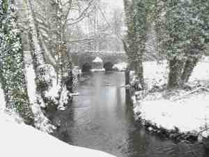 Rochmill bridge in snow at Roch Mill, Pembrokeshire Coast National Park