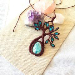 Collar Boho macramé árbol de la vida turquesa y chocolate1