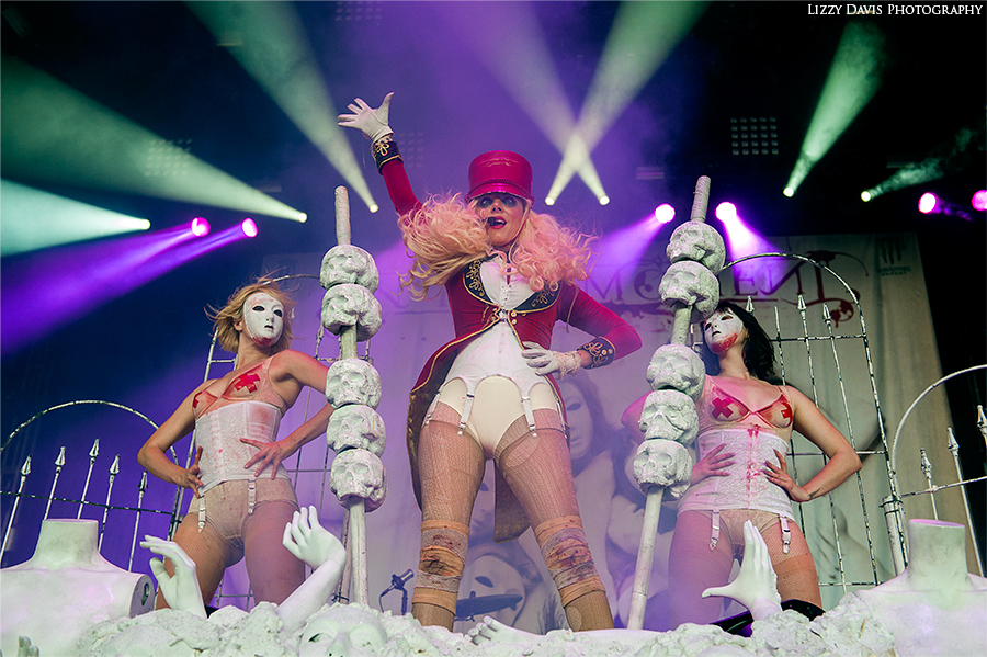 Maria Brink of In This Moment performing on the Carnival of Madness 2013 tour in Charlotte, NC.