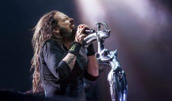 Jonathan Davis of Korn headlining Day 1 of the inaugural Louder Than Life 2014 music festival.