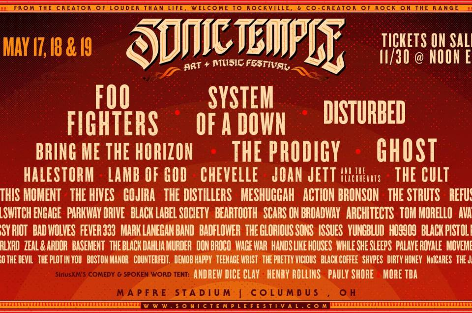 The official lineup for the first ever Sonic Temple Art + Music Festival in 2019 has been announced.
