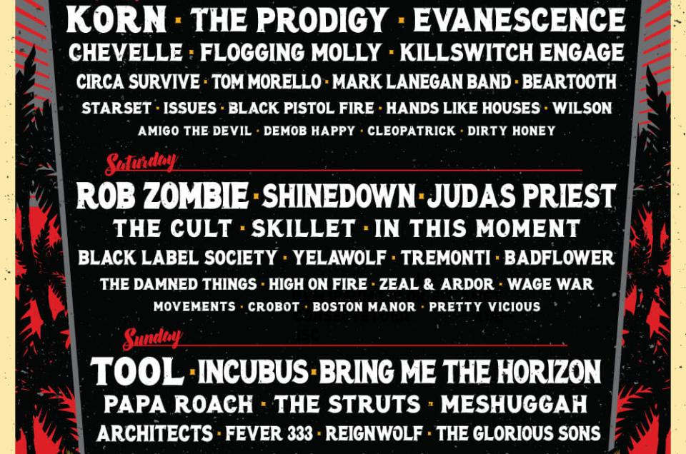 Welcome to Rockville 2019 lineup has been announced featuring Korn, Rob Zombie and Tool.