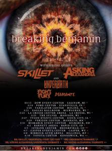 Breaking Benjamin announce spring 2019 tour with Skillet, Asking Alexandria, Underoath, Fight Fury and Diamante.