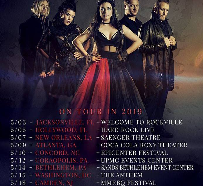 Evanescence announce new headline tour for spring of 2019.