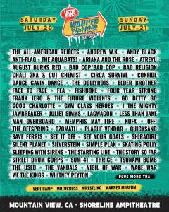 Lineup for Vans Warped Tour 2019 stop in Mountain View, CA.